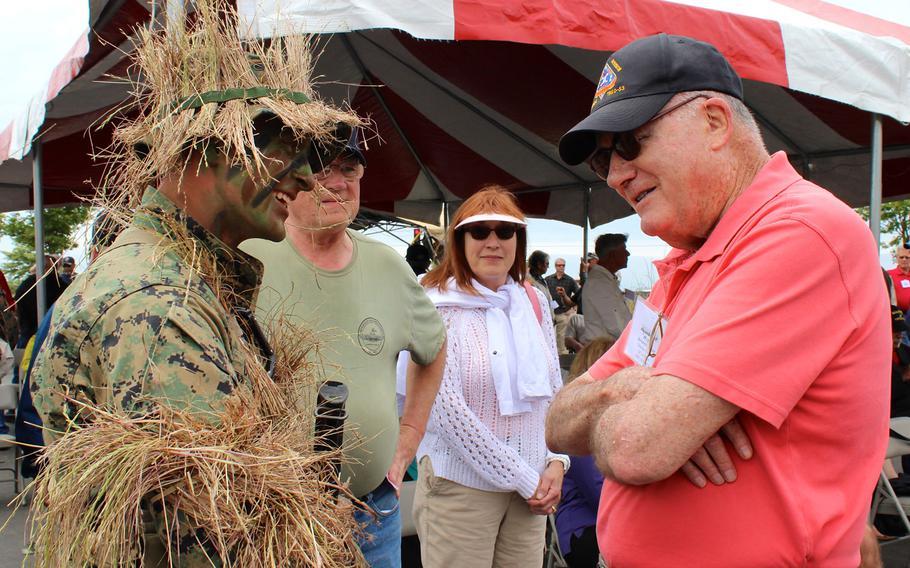 Retired Lt. Gen. Bernard Trainor, right, talks to a Marine with 1st Marine Reconnaissance Battalion on Thursday, April 23, 2015, at a reunion for Vietnam-era recon veterans at Camp Pendleton, Calif.