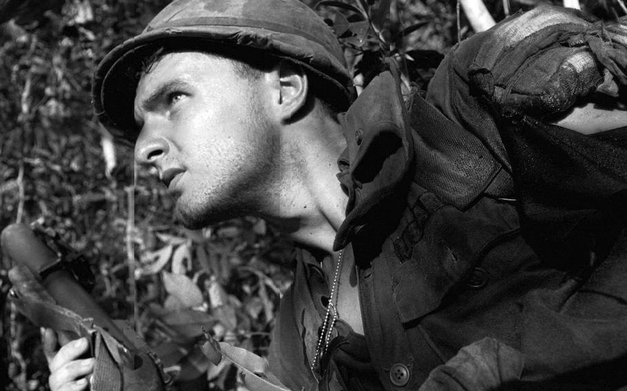 A U.S. soldier, during fighting in an area near Dau Tieng, Vietnam, in November, 1966.
