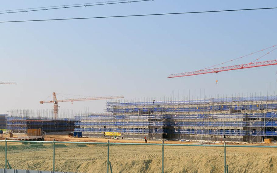 A Camp Humphreys, South Korea, construction site in April 2015. South Korean police have raided the headquarters of a company involved in Camp Humphreys' expansion over allegations that one of its subcontractors illegally funneled nearly $900,000 to a U.S. military official.
