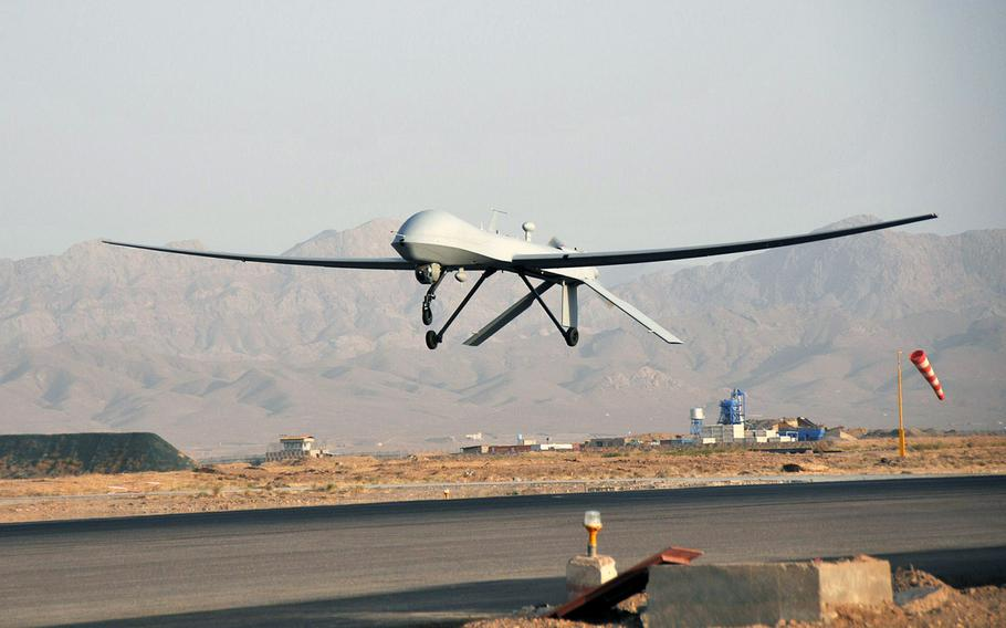 An unmanned aerial vehicle takes off from a Herat, Afghanistan, runway on Aug. 15, 2012.