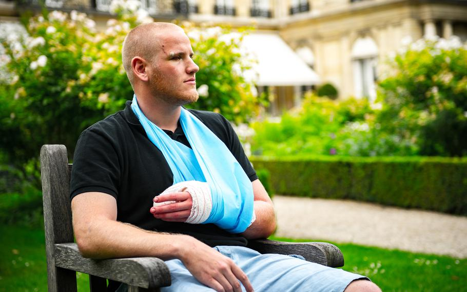 U.S. Airman 1st Class Spencer Stone is interviewed in Paris Aug. 23, 2015, following a foiled attack  on a French train. Stone was on vacation with his childhood friends, Aleksander Skarlatos and Anthony Sadler, when an armed gunman entered their train carrying an assault rifle, a handgun and a box cutter. The three friends, with the help of a British passenger, subdued the gunman after his rifle jammed.