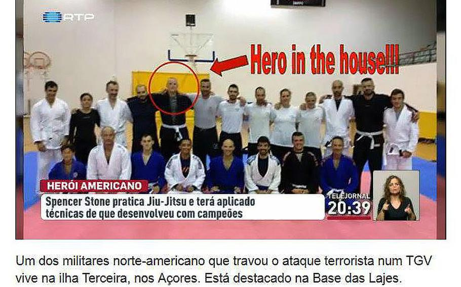 """Spencer Stone is circled in red and an arrow points to him with the message """"hero in the house"""" as he is seen with a group during jiu jitsu practice in Portugal where he is stationed at Lajes Field."""