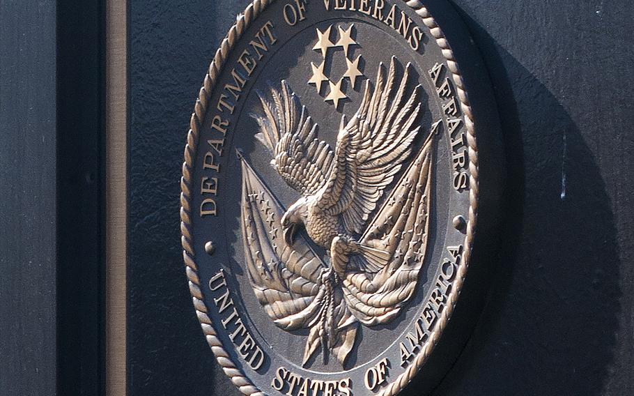The Department of Veterans Affairs decal is seen outside the VA's headquarters in Washington, D.C.