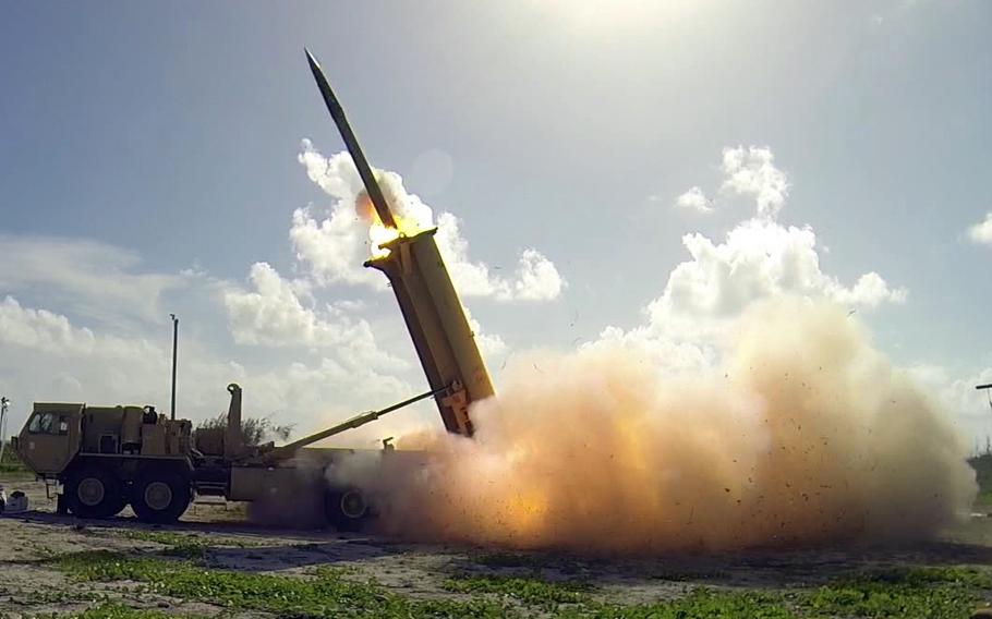 A Terminal High Altitude Area Defense (THAAD) interceptor is launched from a battery located on Wake Island during a flight operational test Nov. 1, 2015. The THAAD system successfully intercepted two air-launched ballistic missile targets during the test.