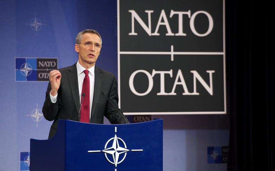 NATO Secretary-General Jens Stoltenberg briefs the media at NATO headquarters in Brussels, Belgium, Tuesday, Feb. 9, 2016 on the topics of this week's Defense Ministers meeting.