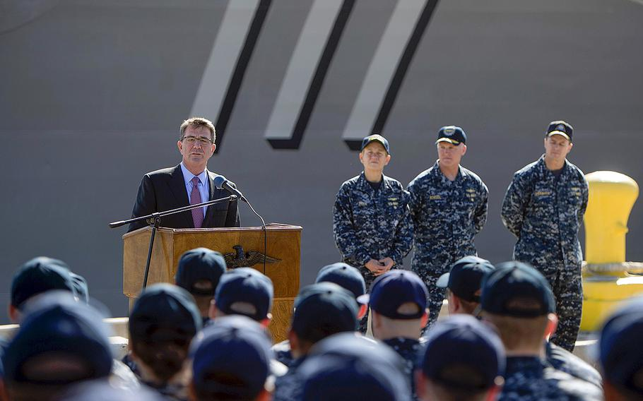 Secretary of Defense Ash Carter speaks to sailors on Feb. 3, 2016, during visit to San Diego. The Pentagon chief on Tuesday, Feb. 9, submitted a proposed $583 billion Defense Department budget for 2017 that focuses more on high-tech future conflicts.