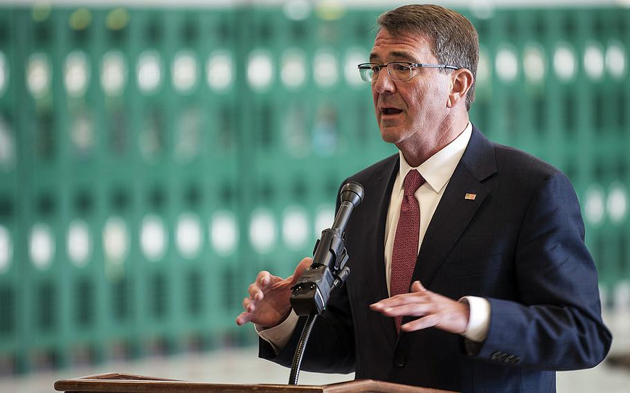 Defense Secretary Ash Carter speaks Feb. 4, 2016, during a visit to Nellis Air Force Base, Nev. The Pentagon chief on Tuesday, Feb. 9, submitted a proposed $583 billion Defense Department budget for 2017 that focuses more on high-tech future conflicts.