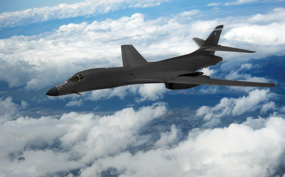 The Air Force uses a variety of warplanes to carry out airstrikes against Islamic State, from single-prop Predator drones to huge B-1 bombers, similar to the one seen here.