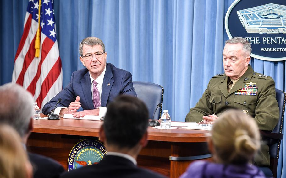 Secretary of Defense Ash Carter and Chairman of the Joint Chiefs of Staff General Joseph F. Dunford Jr. brief the media in the Pentagon Briefing Room on Feb. 29, 2016.