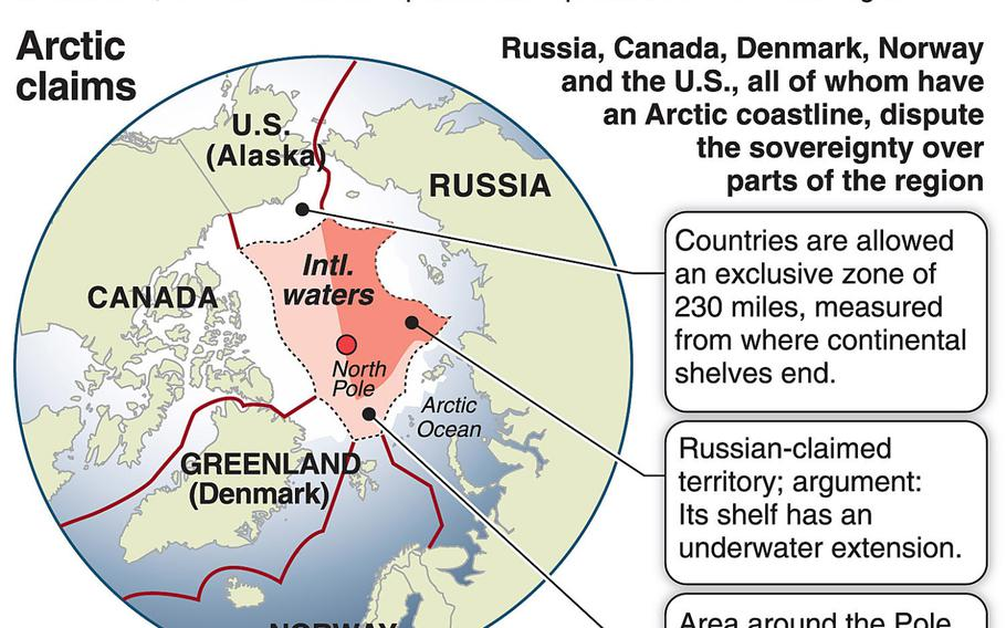 A map of the Arctic shows different claims by neighboring countries; Russia has announced plans to set up a military force to protect its interests in the Arctic.