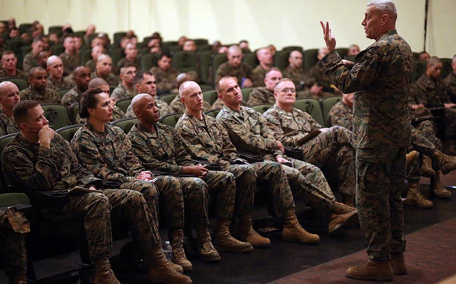 Assistant Commandant of the Marine Corp Gen. John Paxton speaks to Marines and civilians about the future of the Corps on Feb. 25, 2016, while visiting Marine Corps Recruit Depot Parris Island, S.C. Testifying before Congress on Tuesday, March 15, Paxton expressed concerns about the readiness of Marines to fight if called upon in an unexpected crisis.