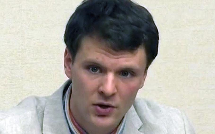 A video screen grab shows University of Virginia student Otto Warmbier speaking in Pyongyang, North Korea.