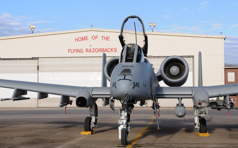"""A 188th Fighter Wing A-10C Thunderbolt II """"Warthog"""" sits on the flightline at Ebbing Air National Guard Base in Fort Smith, Ark. on Feb. 11, 2014."""