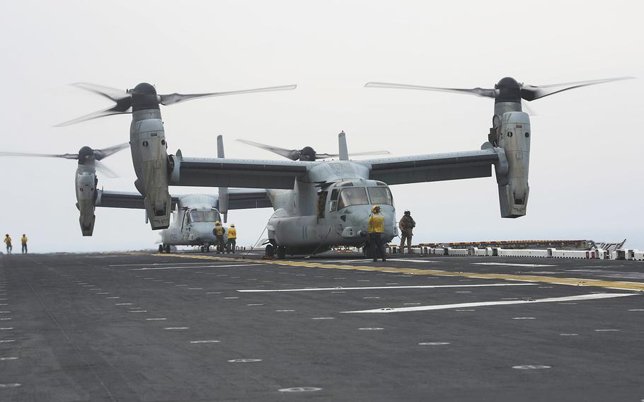 MV-22B Ospreys with Marine Medium Tiltrotor Squadron 162, 26th Marine Expeditionary Unit (MEU) prepare to take-off aboard the amphibious assault ship USS Kearsarge March 4, 2016.