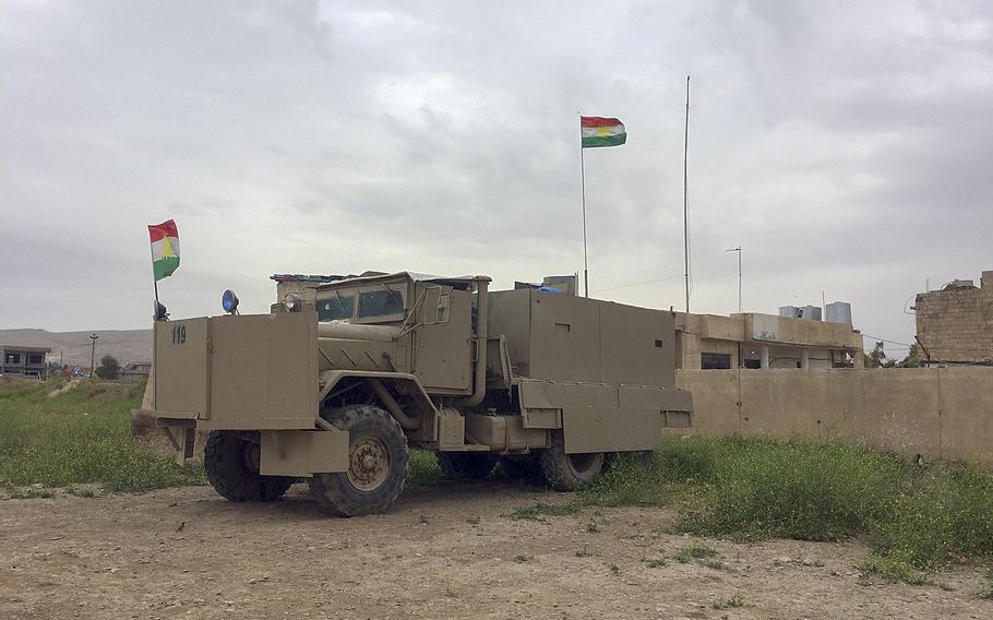 Up-armored peshmerga truck at Makhmour, Iraq, on Sunday, April 10, 2016.