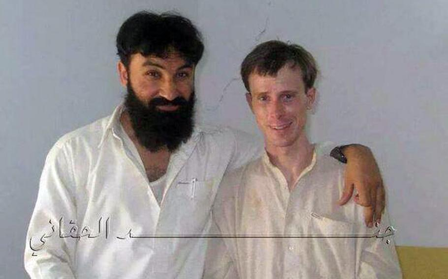 Bowe Bergdahl (right) is shown with Badruddin Haqqani in a Twitter post.