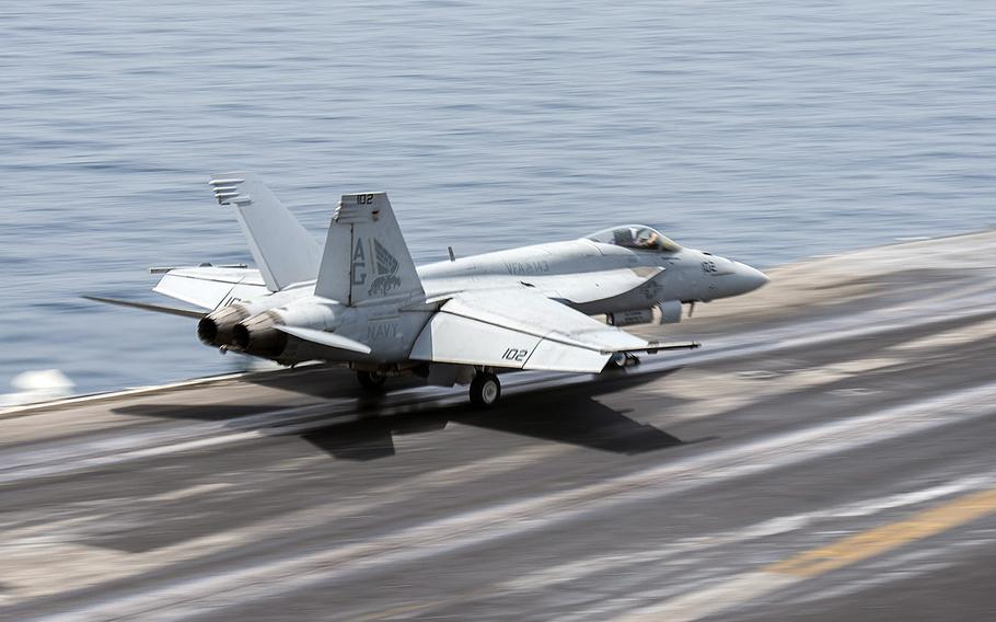 An F/A-18E Super Hornet launches from the flight deck of the aircraft carrier USS Harry S. Truman on April 24, 2016. Airstrikes against Islamic State militants were launched Friday, June 3, 2016, from the Truman while it was operating in the Eastern Mediterranean, according to the European Command.