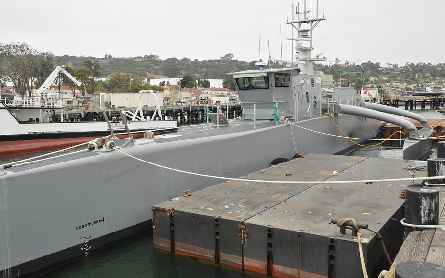 The Navy's largest unmanned vessel prototype, the Sea Hunter, sits at the pier in San Diego where it will undergo testing for the next two years.