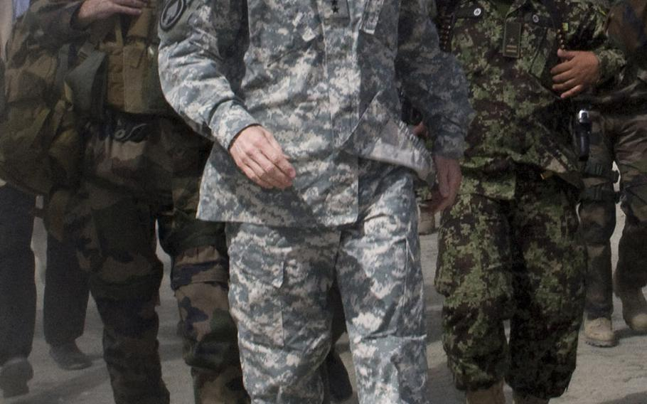 U.S. Army Gen. Stanley McChrystal at Combat Outpost 42 in Tagab valley of Afghanistan's Kapisa province, March 30, 2010.