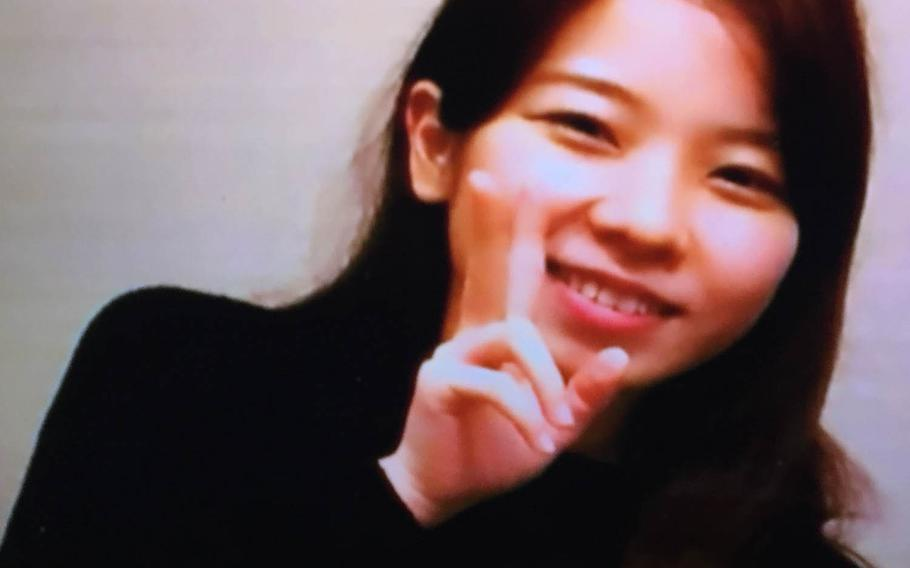 Rina Shimabukuro is seen in this image from a Fuji Television broadcast. Kenneth Franklin Gadson has been charged with murder and rape resulting in death in the case of the 20-year-old Okinawan woman.