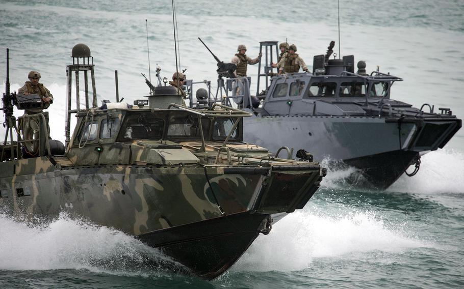 Riverine Command Boats 802 and 805 participate in a bilateral exercise with Kuwait naval forces in the Persian Gulf, on Nov. 3, 2015.