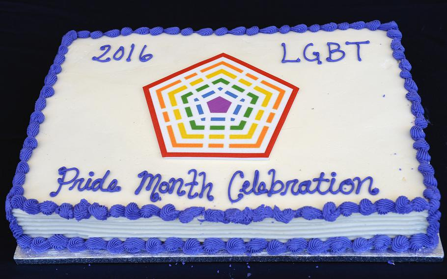 Department of Defense LGBT Pride Month Event Celebration cake. The celebration was held on the Pentagon Courtyard, June 8th, 2016.