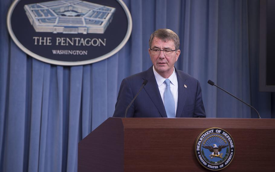 Secretary of Defense Ash Carter announces a new transgender policy for the Department of Defense at the Pentagon , June 30.