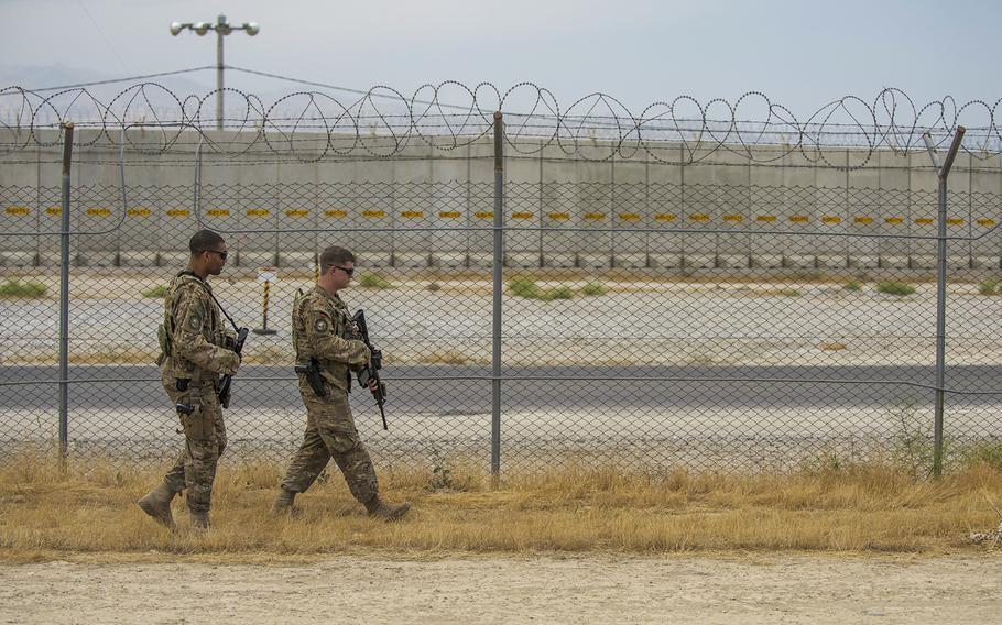 Airmen patrol the flightline perimeter, June 27, 2016, Bagram Airfield, Afghanistan.