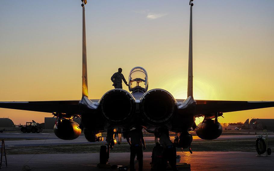 In a Nov. 12, 2015 file photo, a U.S. Air Force F-15E Strike Eagle sits after landing at Incirlik Air Base, Turkey.
