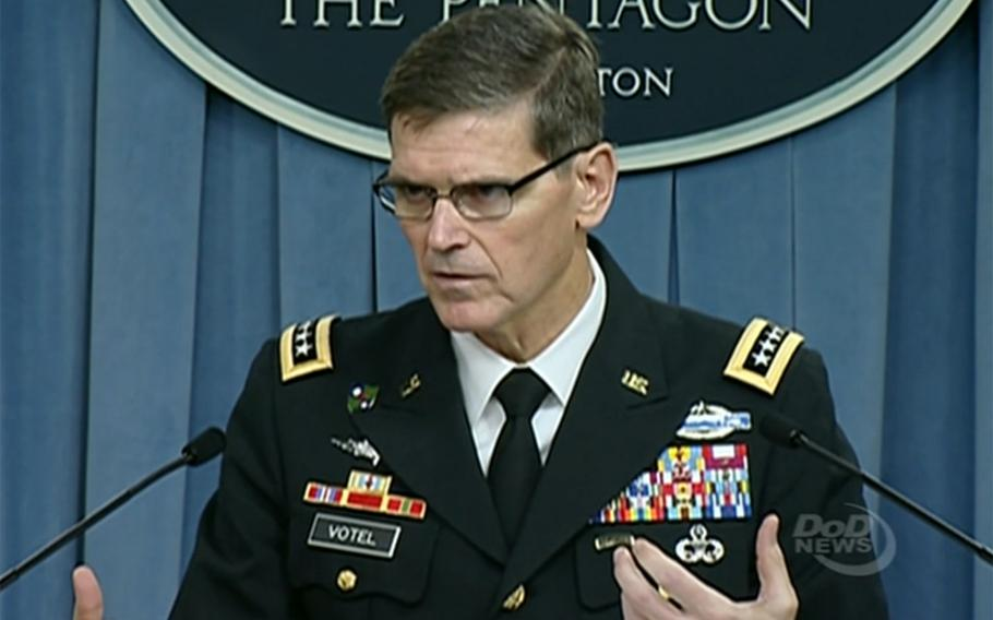 Gen. Joseph Votel answers a question during a press briefing at the Pentagon, August 30, 2016.