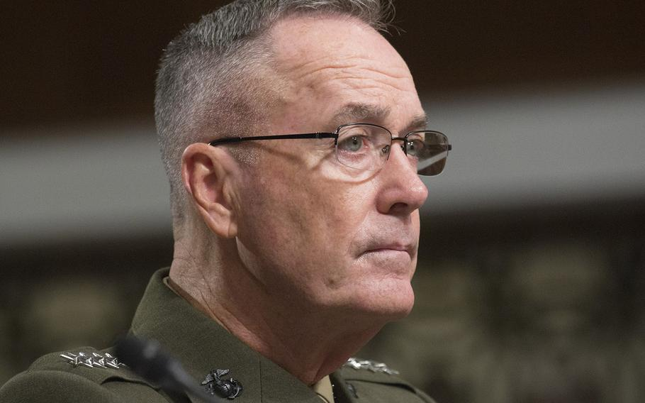 Joint Chiefs of Staff Chairman Gen. Joseph Dunford listens to opening statements at a Senate Armed Services Committee hearing on Capitol Hill, Sept. 22, 2016.
