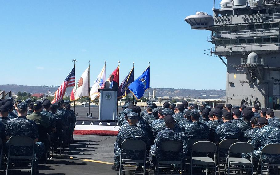 Secretary of Defense Ash Carter speaks to sailors aboard the USS Carl Vinson in San Diego on Sept. 29, 2016.