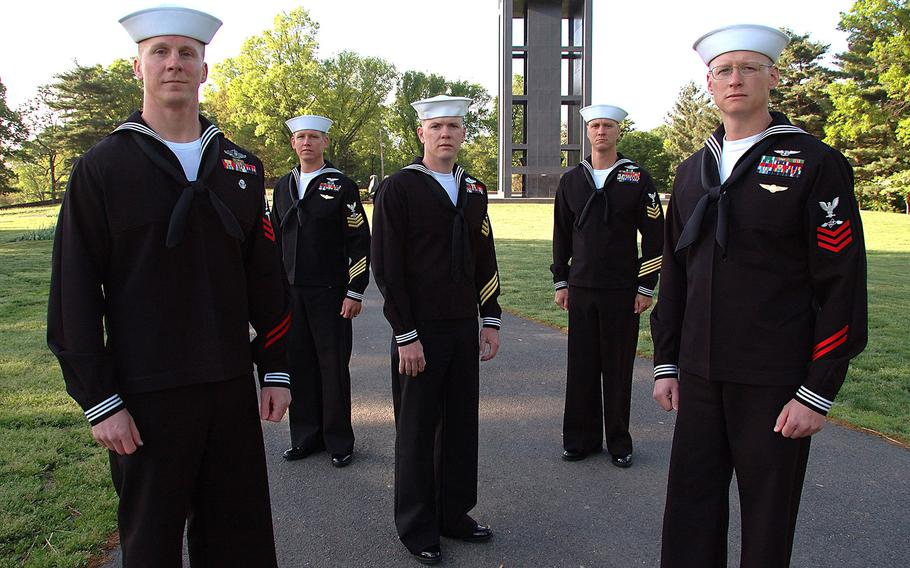 Five finalists in the Navy Reserve Sailor of the Year competition attend an event in Washington, D.C., on April 27, 2006. The Navy announced Thursday, Sept. 29, 2016, that it is overhauling its centuries old rating system.