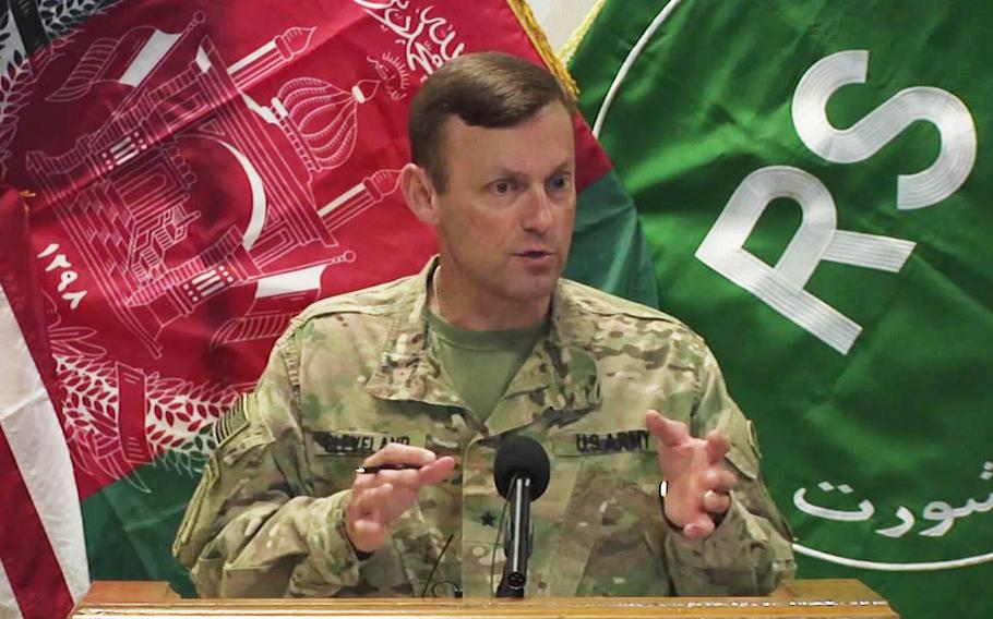 Spokesman for U.S. Forces-Afghanistan, Brig. Gen. Charles Cleveland, speaks at a press conference Resolute Support HQ on Oct. 12, 2016.