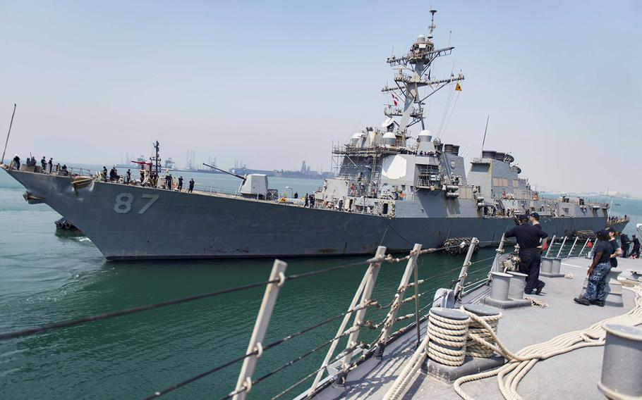 The guided-missile destroyer USS Mason nests alongside the guided-missile destroyer USS Stout in this Sept. 4, 2016 photo.