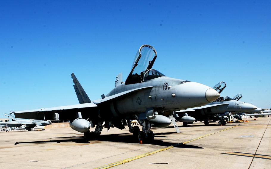 An F/A-18C belonging to Marine Fighter Attack Squadron 225 sits on the flight line at Marine Corps Air Station Miramar on Sept. 8, 2011. An aircraft from the base crashed in the desert near Twentynine Palms, Calif., on Oct. 25, 2016.
