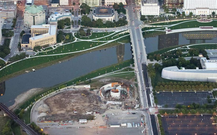 An aerial photo taken Oct. 3 shows the ongoing construction of the museum, which will be located on seven acres on the Scioto Peninsula in downtown Columbus.