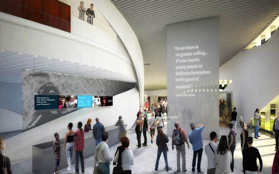 The museum will contain stories from individual veterans, including details of their service and their challenges and achievements after. This rendering shows a quote near the museum's entrance from John Glenn, a World War II veteran, astronaut and former U.S. senator who was behind the effort to create the museum.