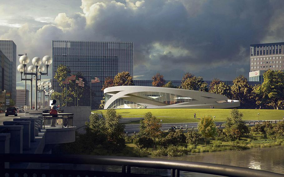 The National Veterans Memorial and Museum is an approximately $75 million facility being constructed in downtown Columbus, Ohio. With congressional approval, the museum would become the first national museum dedicated to veterans. This rendering shows the building and its seven-acre site from across the Scioto River.