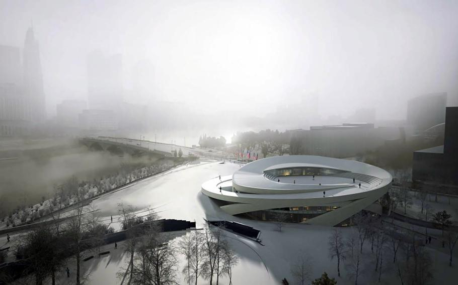 """The National Veterans Memorial and Museum, under construction in downtown Columbus, Ohio, will feature personal stories of veterans, including their military service and their lives after. This rendering, facing east toward the Scioto River, shows the museum with a planned rooftop """"sanctuary."""""""