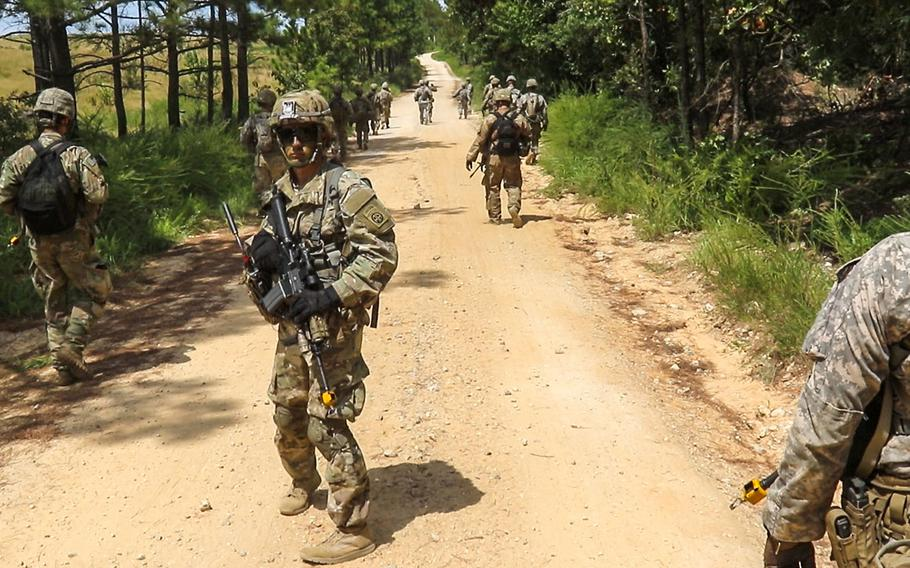 Paratroopers of the 2nd Battalion, 325th Airborne Infantry Regiment, 2nd Brigade Combat Team, 82nd Airborne Division, during a field training exercise at Fort Bragg, N.C. on Aug. 24, 2016.