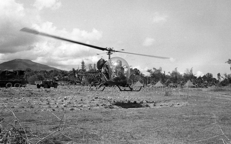 Scout H-13 helicopters land and take off during Operation Masher at Bong Son, Vietnam. Here they refuel, change pilots and get briefed on Jan. 29, 1966.