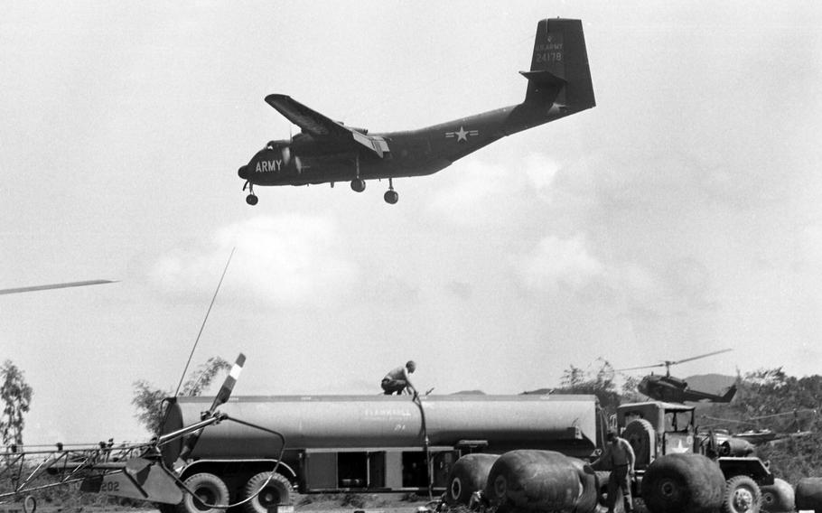 Planes and helicopters land and take off during Operation Masher at Bong Son, Vietnam. Here, they refuel and change pilots on Jan. 29, 1966.