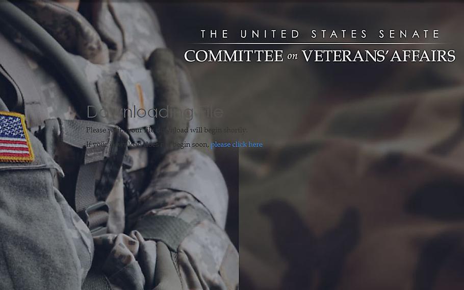 Screen grab from a U.S. Senate's Committee on Veterans' Affairs website.