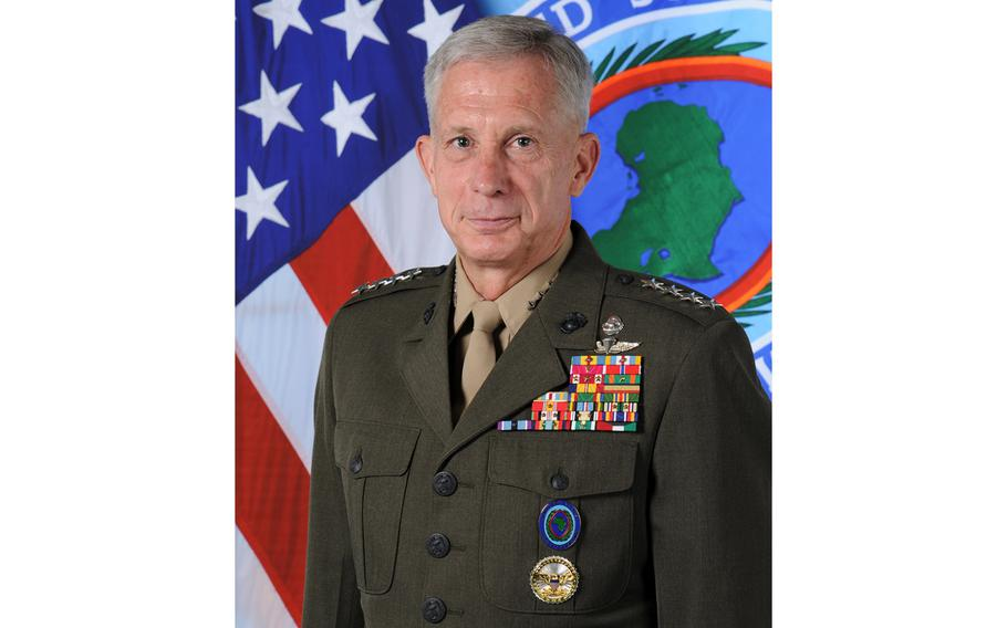 """AFRICOM's commander Marine Corps Gen. Thomas Waldhauser says U.S. forces are tracking Islamic State fighters who have fled the battle in the coastal Libyan city of Sirte.  """"What we don't want them to do is re-emerge,"""" Waldhauser said Wednesday, Nov. 16, 2016, during an interview in Stuttgart, Germany."""