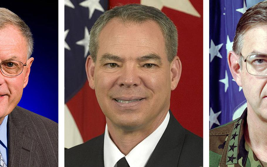 Among the members of President-elect Donald Trump's DOD transition team are retired general officers, left to right, Keith Kellogg, Bert Mizusawa and William Hartzog.
