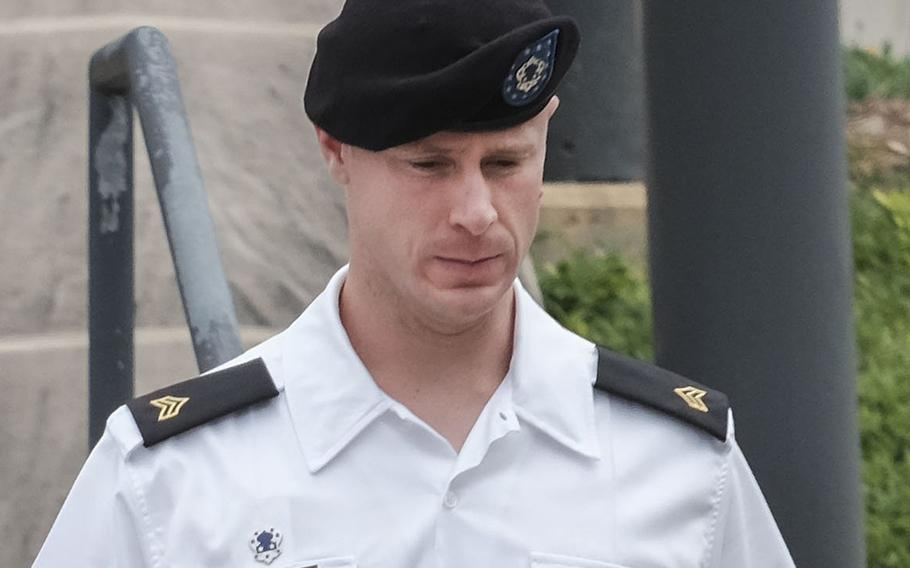 Sgt. Bowe Bergdahl leaves the courtroom at Fort Bragg, N.C., on Aug 22, 2016.