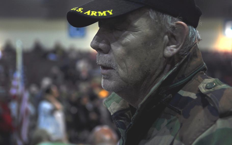 Bart Tippets, a Vietnam War veteran from Utah, pauses during a speech Monday, Dec. 5, 2016 in front of hundreds of other veterans. He said he joined the Veterans for Standing Rock movement because of its message of nonviolence.