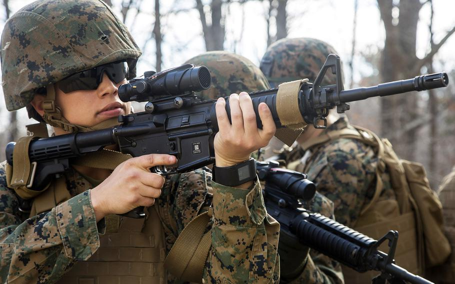 U.S. Marines assigned to the 22nd Marine Expeditionary Unit conduct an urban operations training exercise with the Female Engagement Team (FET) at Fort Pickett, Va., Feb. 21, 2016.