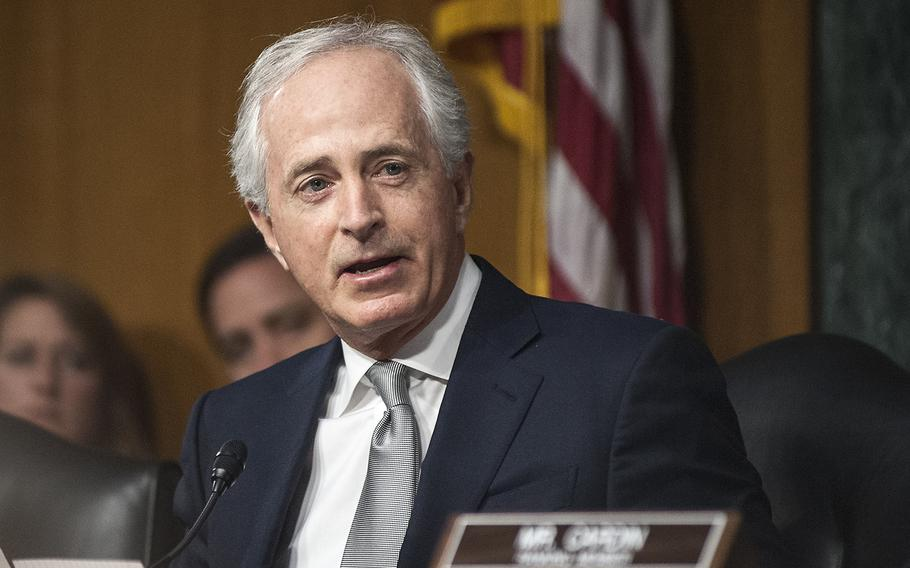 Chairman of the Senate Foreign Relations Committee Sen. Bob Corker, R-Tenn., gives an opening statement as members considered President-elect Donald Trump's nomination of Rex Tillerson to become the next secretary of state, during a  hearing on Capitol Hill in Washington, D.C., on Wednesday, Jan. 11, 2017.